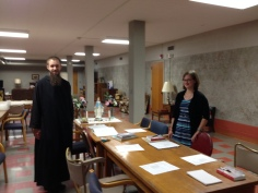 Br. Benedict with Sr. Ciera Peterson, president of Our Lady Seat of Wisdom Praesidum, Spring Semester 2015